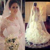 Wholesale Lace Empire Sleeve Wedding Dress - 2015 Vestido Novia Vintage Wedding Dresses with Sheer Lace Back Mermaid Jewel Long Sleeve Ivory Bridal Gowns Dress for Wedding Arabic