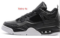 Wholesale Horse Silk - Wholesale Air Retro 4 Black white Horse Hair Top quality basketball shoes Best Sports Shoes Leather Men Basketball Shoes Retro 4S Sneakers
