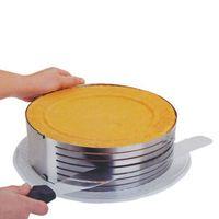 cortadora de capas de pastel al por mayor-Ajustable Layer Cake Slicer Kit Mousse Mould Slicing Cake Setting Ring Home DIY Envío gratis, dandys