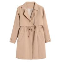 Wholesale Long Spring Trench Coats Women - Mori Girl Spring Autumn Trench Coats for women Slim Cotton Long sleeve Preppy Style Women Outerwear