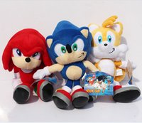 "Wholesale Sonic Hedgehog Wholesale - 3pcs set New Arrival Sonic the hedgehog Sonic Tails Knuckles the Echidna Stuffed Plush Toys With Tag 9""23cm Free Shippng"