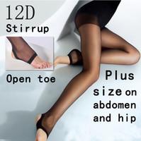 Wholesale Wholesale Large Women Tights - Wholesale-Women 2015 Stirrup Open toe pantyhose plus size tights High quality 12D thin Large pantyhose plus size on abdomen and hip ML6145