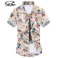 Wholesale Multicolor Mens Shirt - Wholesale-2016 Mens Embroidered Shirts Fashion Mens Floral Dress Shirts Trend Multicolor Print Florals Short-Sleeved Shirt Mens Clothing