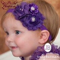 Wholesale Christmas Shabby Flowers - Nishine 16 Colors Kids Shabby Chiffon Flower Headband Girl Children Infant Elastic Hairband Hair Accessories Christmas Gift
