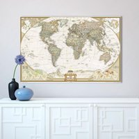 Wall Art Home Decor no Frame mapa grande del mundo Póster Pintura al óleo sobre lienzo para sala de estar Office Bedroom No Framed