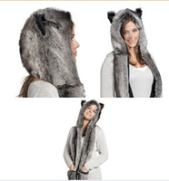Wholesale Fur Scarf Hat - Faux Fur Winter Hat Animal Wolf Hood Scarf Gloves Ladies Girls Mens Xmas Spirit Free Shipping