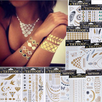 Wholesale Henna Temporary Tatoos - Metalic Tatoos Gold Metallic Temporary Flash Tattoos Sex Products Henna Metal Bling Tatouage Body Paint Stickers body art Free Shipping