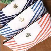 Wholesale Orange Pencil Case - Canvas Navy Design Pencil Case Stationery Pen Bag, Cosmetic Bag, Make up Pouch Case dark blue orange sky blue 3 colors