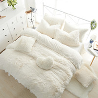 conjunto de capas multi cores venda por atacado-Atacado-Conjuntos de cama de cor sólida princesa luxo 3/4/6 / 7pcs neve branca cordeiros lã cama saia capa de edredão colcha roupa de cama roupa de cama