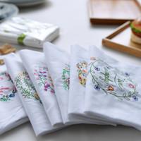 Wholesale Tea Table Cloths - High-quality Embroidered Tea Towels Cotton Napkins 6pcs Table Napkins Home Kitchen Servetten Wedding Cloth Napkins 45*70cm