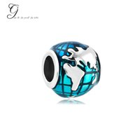 Wholesale Earth Charms - Fits Pandora Charm Bracelet Silver Lucky Beads Ocean Blue Earth World Loose Charms For Diy European Style Snake Charm Chain