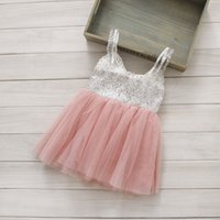 Summer Knee-Length A-Line 2015 NEW ARRIVAL baby girl kids 2-7T Sequin dress yarn stitching sequins sleeveless vest dress bowknot sparkling party ball gown gauze pink