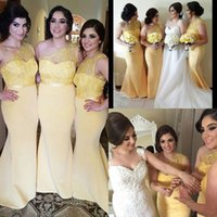 Wholesale best sky blue wedding dress for sale - Group buy Yellow Bridesmaid Dresses Best Selling One Shoulder Mermaid Sleeveless Floor Length Custom Made Wedding Party Dresses