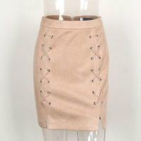Wholesale Womens Suede Skirts - Wholesale- Autumn winter lace up leather suede pencil skirt Winter 2016 cross high waist skirt Zipper split bodycon short skirts womens