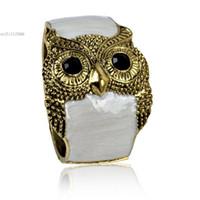 """Wholesale Antique Enamel Gold Bracelet - Wholesale-Fashion Women""""s Girls Antique Punk Gold Tone Night Owl Pattern Enamel Bracelet Bangle Night Owl Pattern Enamel Bracelet"""