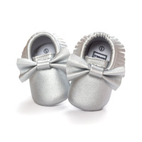 Wholesale Toddler Boy Slip Free Socks - Silve Fringe Pu Baby Boy Shoes Bow Solid Toddler First Walker Shoe Children's Shoes Socks 0-2years Free Shipping