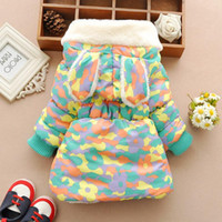 симпатичные зимние пальто девочки оптовых-Cute  Baby Winter Jacket Thick Cotton-Padded Baby Girl Outerwear Infant Baby Boys Parka Toddler Girls Snow Wear Baby Coat