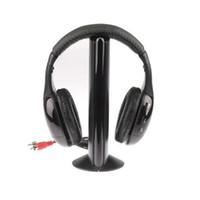 Wholesale Hot Selling Headphones - Hot Selling 5 in 1 Hi-Fi Wireless Earphone Headphone For FM Radio MP3 CD PC TV Free Shipping
