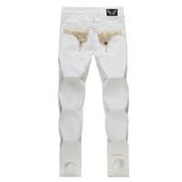 Wholesale American Flag Jeans For Men - New White american flag jeans for Men Slim Denim Straight distressed jeans men Fashion Designer Famous Brand biker jeans Plus Size 30-42