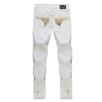 homens jeans brancos angustiados venda por atacado-New white bandeira americana jeans para homens magro jeans reta angustiado jeans homens designer de moda famosa marca biker jeans plus size 30-42