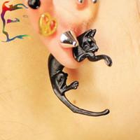 Wholesale Cat Clip Earrings - Wholesale 24pcs lot fashion solid cat puncture leopard stud earring Ear cuff black animal Punk rock clip earcuff earring jewelry