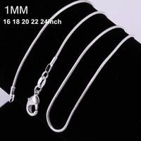collar de plata de 18 pulgadas al por mayor-100 unids 925 plata P liso serpiente cadenas Collar 1 MM cadena de serpiente tamaño mixto 16 18 20 22 24 pulgadas venta caliente