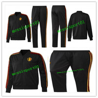 Wholesale Black Zipper Top - top quality 2017 2018 2019 Belgium players training suit bench tracksuit 2018 19 E.HAZARD R.LUKAKU soccer full zipper jacket chandal set