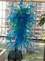 mejores arañas de cristal al por mayor-Fuente de luz 100% vidrio soplado a mano de vidrio de borosilicato Dale Chihuly Murano Art Best Crystal Led Chandelier Light