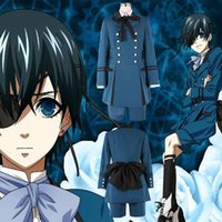 Wholesale Ciel Phantomhive Blue Cosplay - Black Butler 2 Kuroshitsuji Ciel Phantomhive Blue Boy Lolita Suit Anime Unisex Cosplay Costume Blue Sets