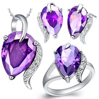 Wholesale Red Gemstone Earring Jewelry - Swarovski Crystal Jewelry Sets 925 Sterling Silver Gemstone Jewelry 3 Colors Wedding Jewelry Sets Statement Necklace + Stud Earrings + Ring