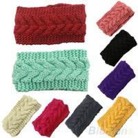 Wholesale Wide Green Crochet Headband - Women Winter Ear Warmer Headwrap Wide Crochet Headband Knit Flower Hairband 2MWH