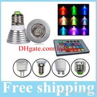 e26 rgb led birnen großhandel-3W E27 E26 GU10 RGB LED Birnen E14 GU5.3 MR16 12V / 85-265V LED Strahler 16 Farben ändern + IR Fernbedienung