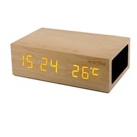 Wholesale Mini Clock Temperature - Ristime W1 Wooden Speakers NFC Bluetooth 4.0 Alarm Clock Stereo Speaker LED Clock Wall Clock Temperature Display USB Charger DHL Free MIS098