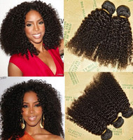 Wholesale Brazilian Virgin Kinky 3pcs - Unprocessed Brazilian Peruvian Indian Malaysiay Human Remy Virgin Hair Kinky Curly Weft Hair Weave Hair Extensions Natural Color 3pcs