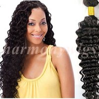 Wholesale Virgin Malaysian Curly Hair Bulk - Virgin Hair Bundles Brazilian Human Hair Weaves Deep Wave Curly 8~34inch 100% Unprocessed Peruvian Indian Malaysian Bulk Hair Extensions