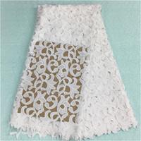 guipure dantel beyaz toptan satış-(5 yards / pc) BW79-12, Moda beyaz çiçek nakış ile afrika dantel kumaş fransız gipür dantel kumaş parti elbise