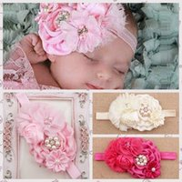 Wholesale Big Chiffon Flowers Baby Headband - New Baby girls headbands bows Big Flowers Satin Chiffon Hair accessories for girls babies Elastic Headbands mix Hair Accessories KHA106