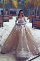 vestidos de noiva de tamanho real mais venda por atacado-100% Real imagem Sparkly vestido de baile vestidos de casamento Sheer Neck lantejoulas frisado Tulle mangas compridas sem encosto vestidos de casamento Plus Size vestido de noiva