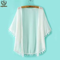 Wholesale Cheap Japanese Clothes - Women Tops New Fashion Japanese Clothes Latest Solid White Short Sleeve Tassel Chiffon Free Shipping Cheap Loose Kimono