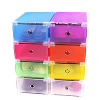 Wholesale Clear Shoe Storage Boxes Drawer - Colorful Clear Plastic Shoes Storage Box Foldable Drawer Type Box For Women Shoes Organizer