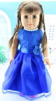 Wholesale American Girl Dolls Clothes - Wholesale New Christmas Gifts For Children Girls Doll Accessories Blue Fashion Clothes For 18'' American Girl Dolls Dress