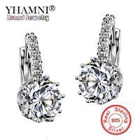 Wholesale Diamond Stud Drop - YHAMNI Fashion Fine Jewelry Gold Filled Dangle Earrings Luxury Brand Rhinestone Big CZ Diamond Drop Earrings For Women Wedding E73