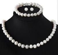 Wholesale Freshwater Pearl Set Aa - Genuine 8-9mm Freshwater Cultured Pearl Necklace Bracelet & Earrings Set AA