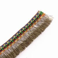 Wholesale Wholesale Tassel Fringe Trim - Braided Brown Fringe Tassel Trimming Fabrics Embroidery Jacquard Lace Ribbon Trim Webbing Applique for Costumes 20yard T1289