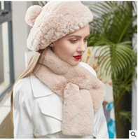 Wholesale Beaver Women - Winter beaver rabbit hair scarves extra thick comfortable warm double side rabbit hair scarf cheapest Scarves Christmas present gift