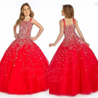Wholesale Cute Little Girl Dressed Sexy - Little Girl's Pageant Dresses Sexy Spaghetti Beaded Organza Red Ball Gown Cute Red Princess Party Flower Girl Dresses