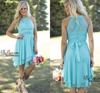 Wholesale Knee Length Western Wedding Dresses - Sky Blue Short Party Dresses Maid of Honor with Pleat Chiffon Sash Knee Length 2016 Cheap Summer Western Country Wedding Bridesmaid Dresses