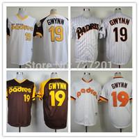 Wholesale Order Baseball Jersey Cheap - Men's Women's Children's Cheap Sitched San Diego Padres 19 Tony Gwynn Cool Baseball Jerseys White Brown Size S~XXXL Free Shipping Mix order