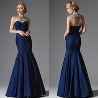 Wholesale Evenign Dresses - Custom Made Sexy Evening Gowns Crystal Beaded Illusion High Neck Mermaid Floor Length Capped Sleeve Blue Lace Formal Evenign Dresses 2015
