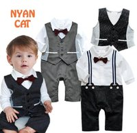 Wholesale Boy Gentlemen Straps - Spring And Autumn New Baby Boys Rompers Gentlemen Flase Strap Long Sleeve One Piece Jumpsuits +Waistcoat E13541